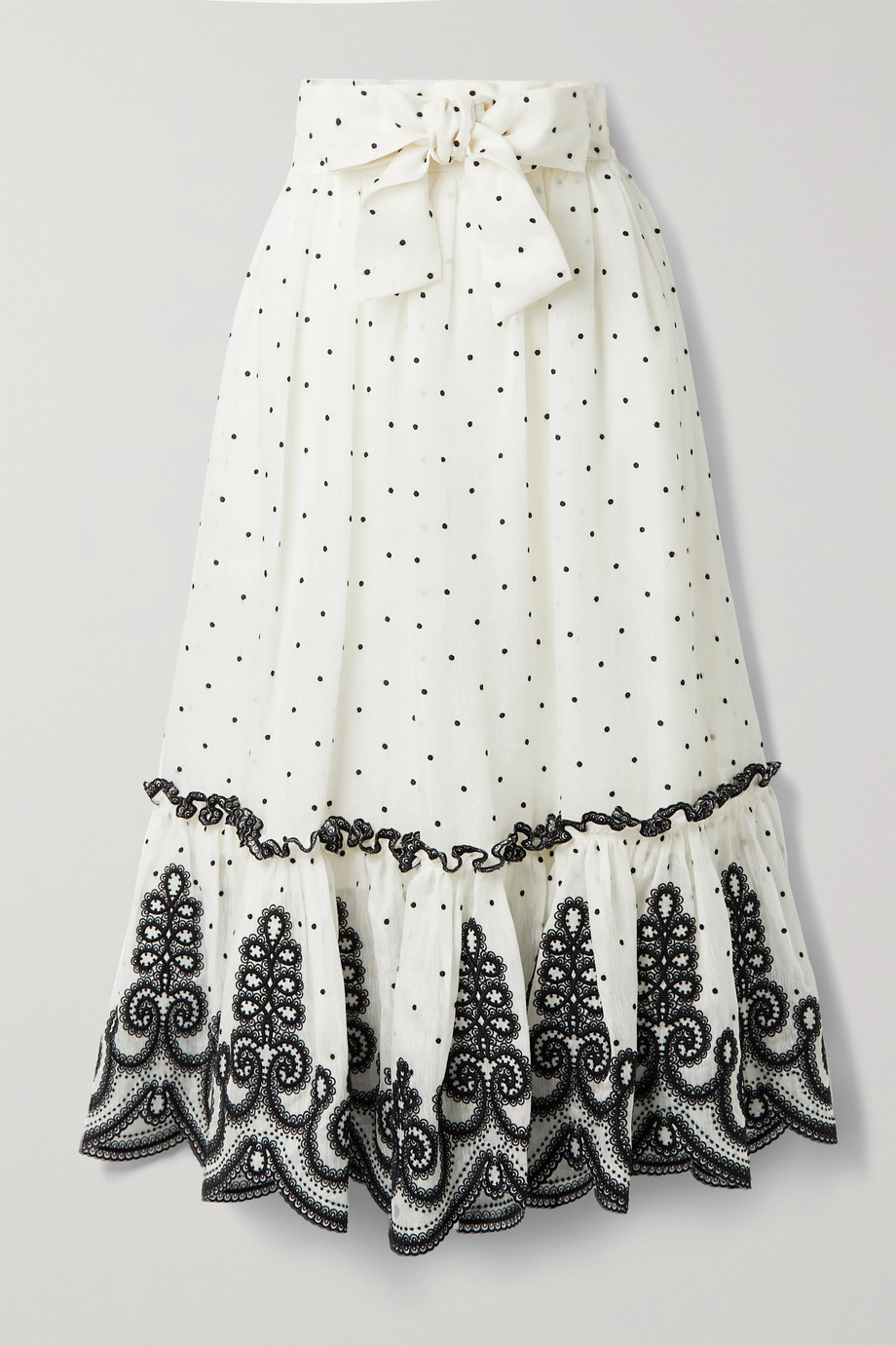 Zimmermann The Lovestruck Rope embroidered linen and silk-blend midi skirt
