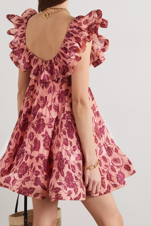 Zimmermann Lovestruck Minikleid aus plissiertem Crêpe mit Blumenprint und Volants
