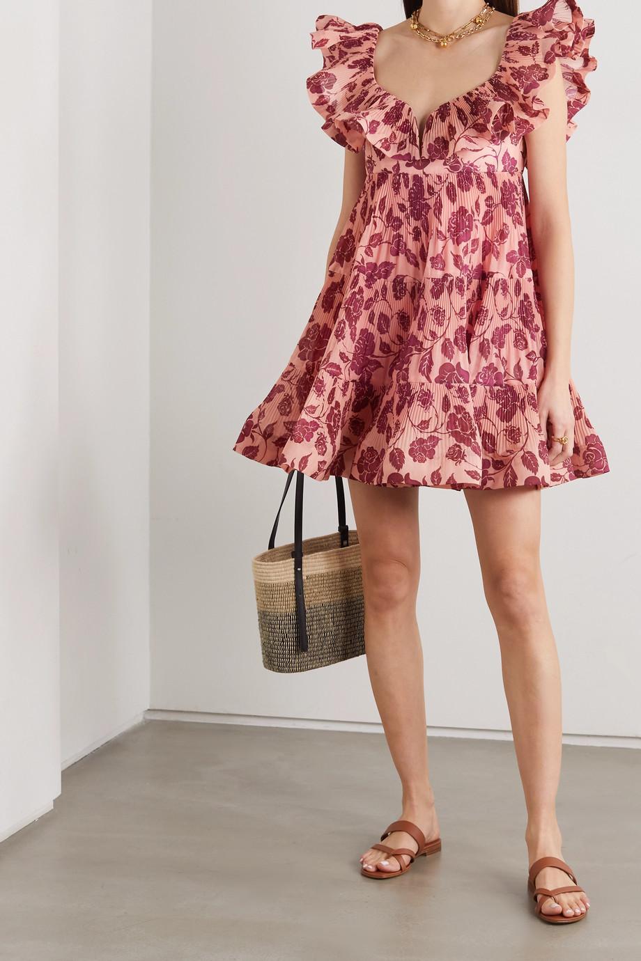 Zimmermann Mini-robe en crêpe plissé à imprimé fleuri et à volants Lovestruck