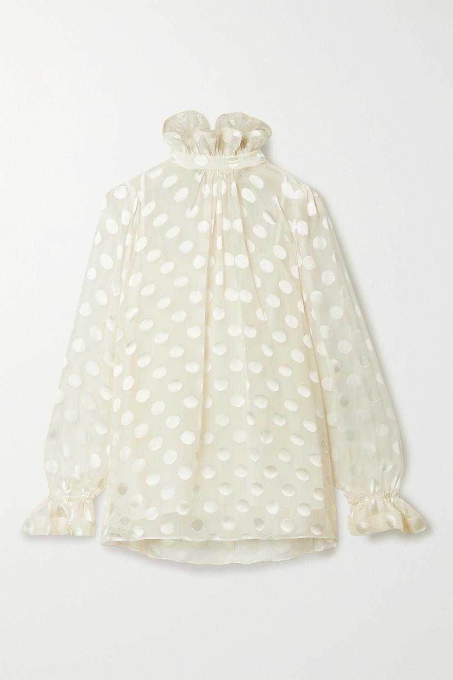Zimmermann The Lovestruck ruffled fil coupé silk-chiffon blouse