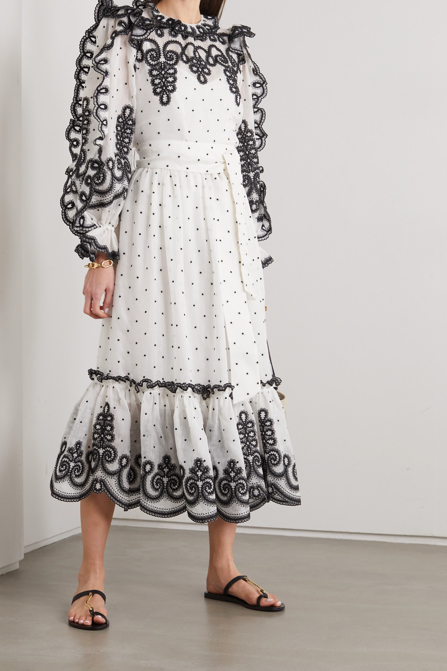 Zimmermann The Lovestruck Rope embroidered linen and silk-blend organza blouse