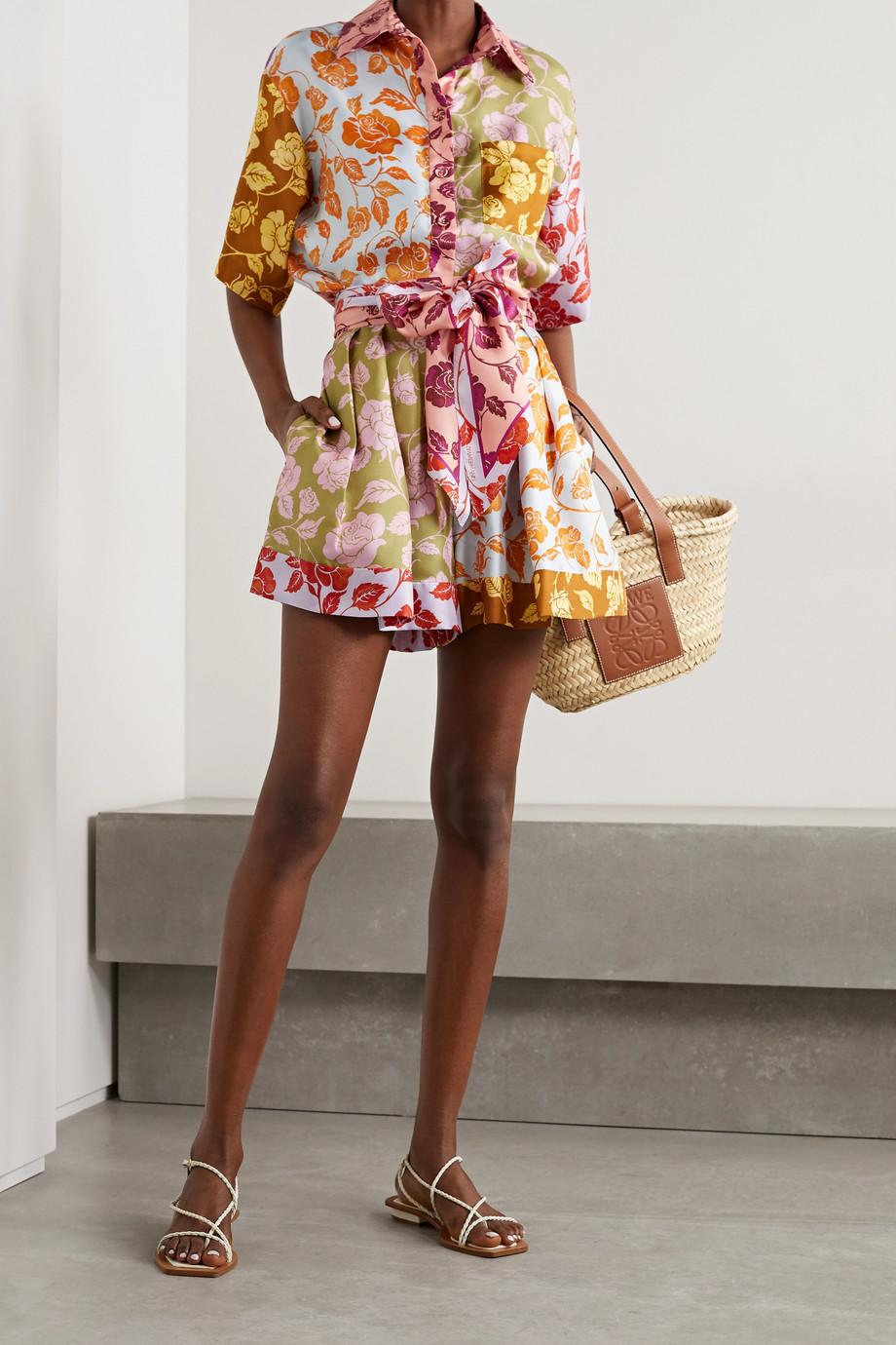 Zimmermann The Lovestruck belted floral-print silk-twill shorts