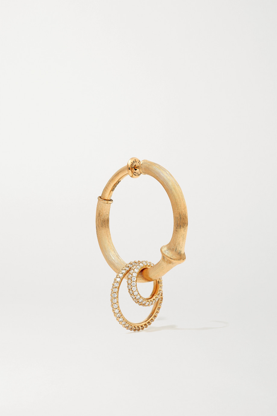 OLE LYNGGAARD COPENHAGEN Nature große Creole aus 18 Karat Gold mit Diamanten