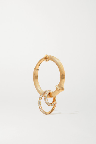 Ole Lynggaard Copenhagen Earrings NATURE LARGE 18-KARAT GOLD DIAMOND HOOP EARRING