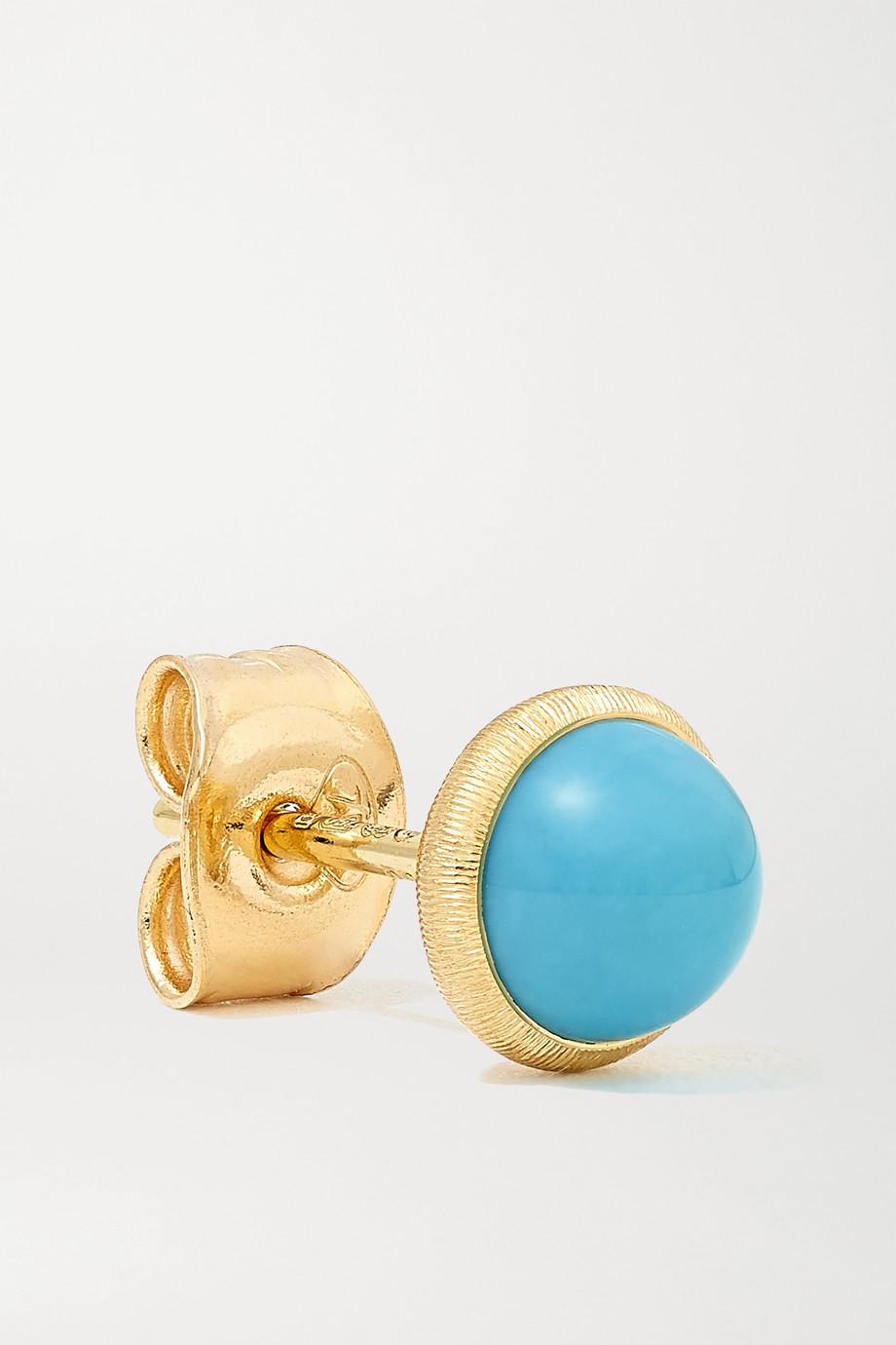 OLE LYNGGAARD COPENHAGEN Lotus 18-karat gold turquoise earrings