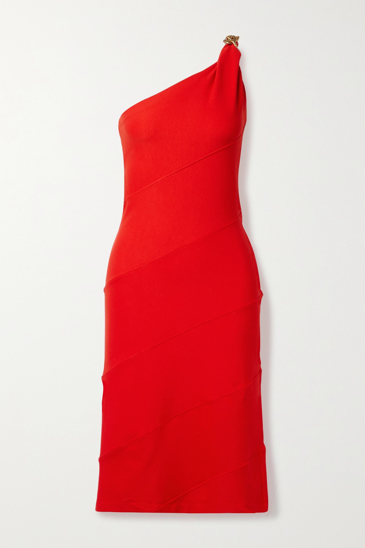 Givenchy One-shoulder chain-embellished stretch-jersey dress