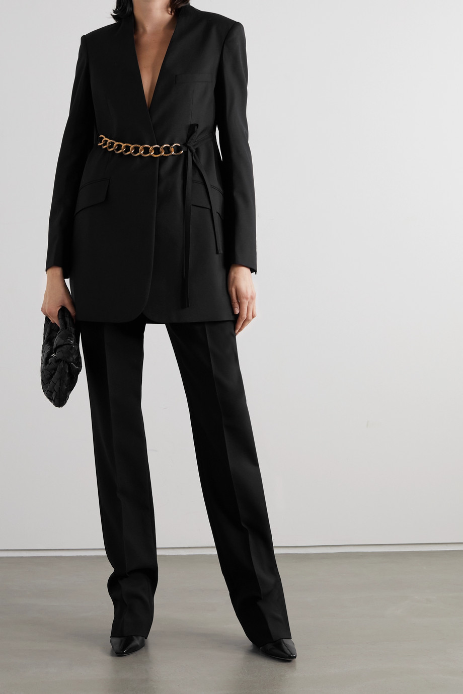 Givenchy Chain-embellished wool wrap blazer
