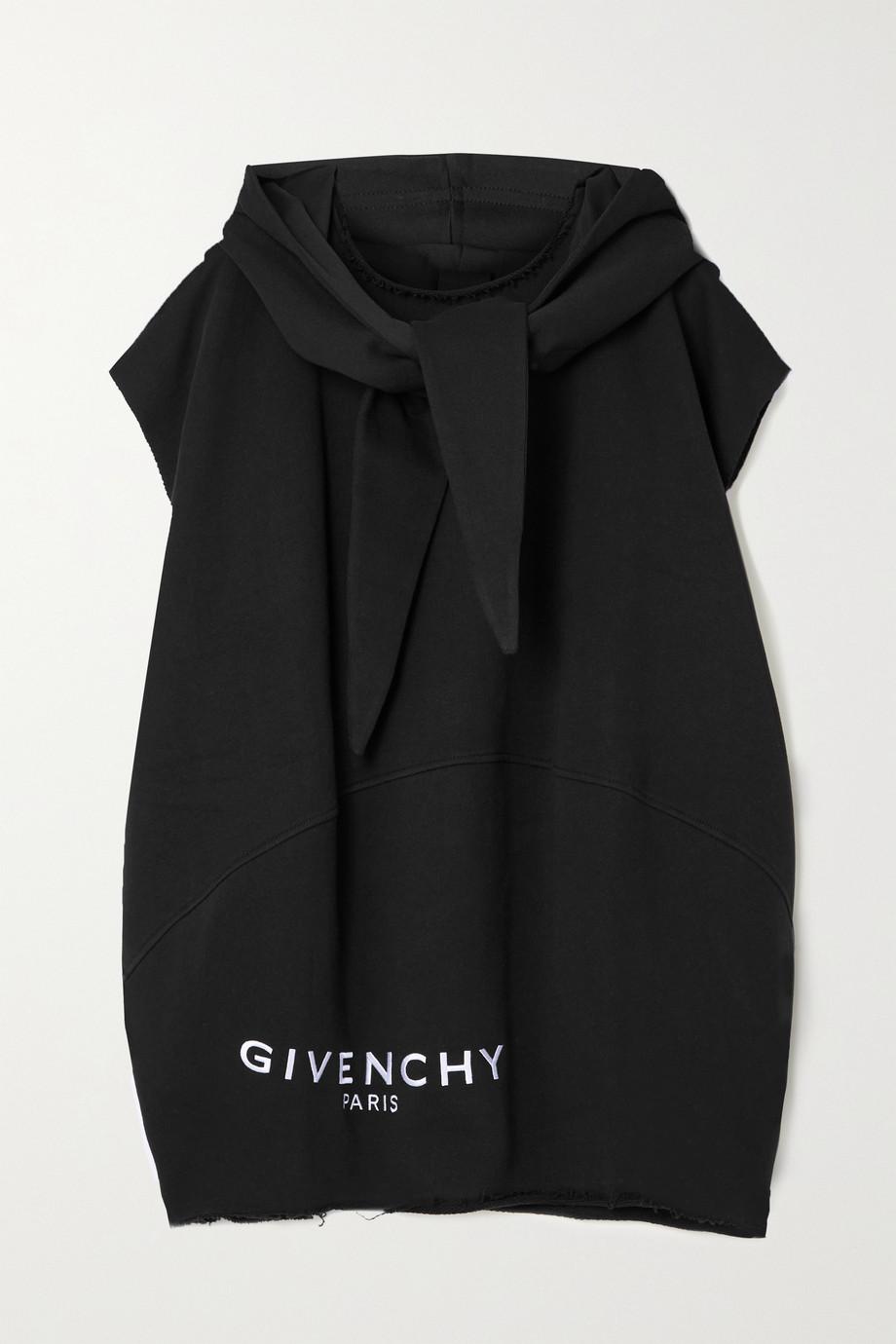 Givenchy 大廓形磨边刺绣纯棉平纹布帽衫