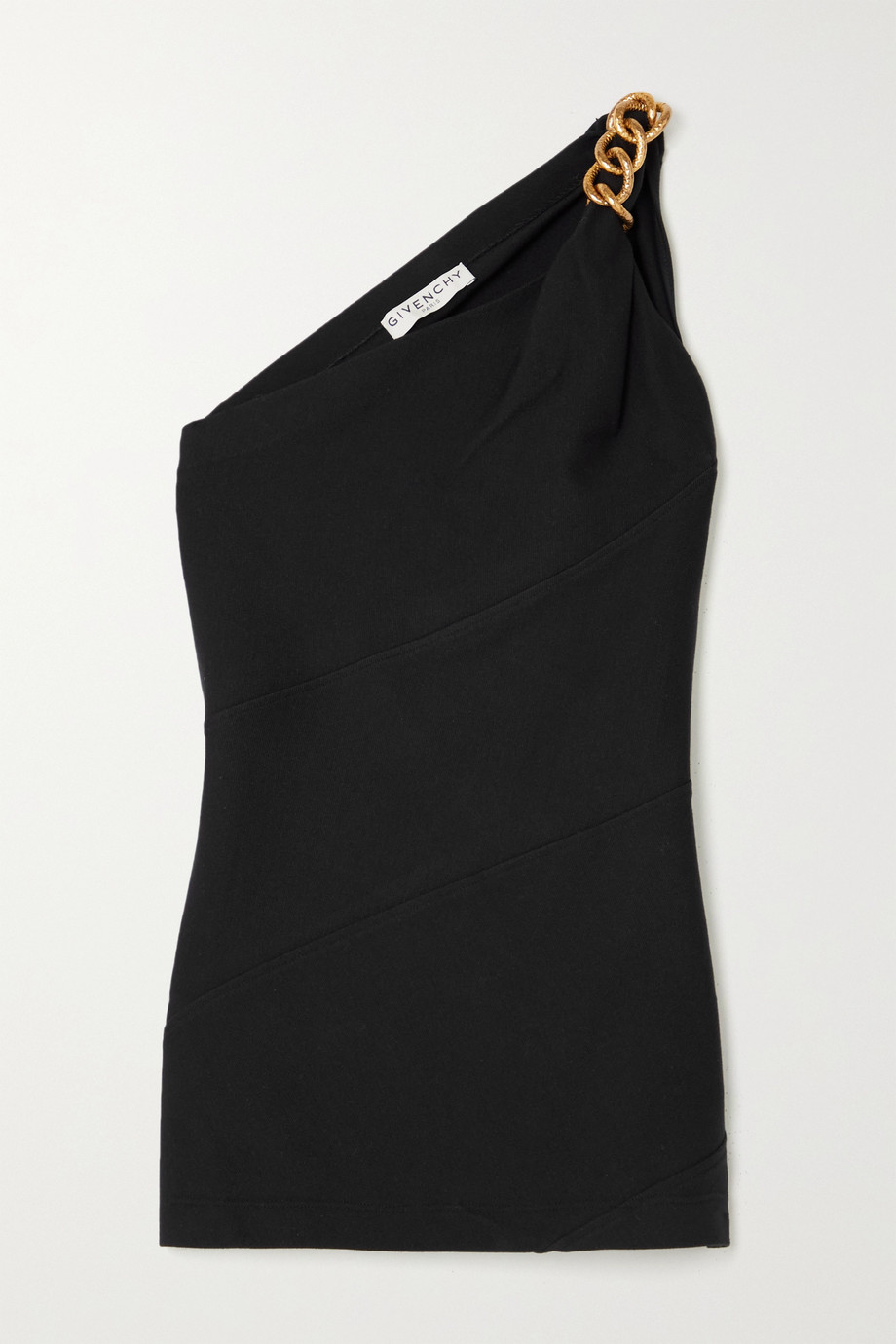 Givenchy One-shoulder chain-embellished stretch-crepe top