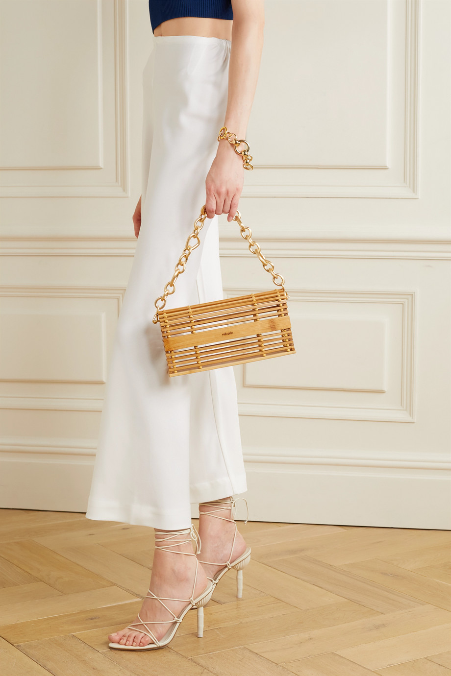 Cult Gaia Sylva chain-embellished bamboo shoulder bag