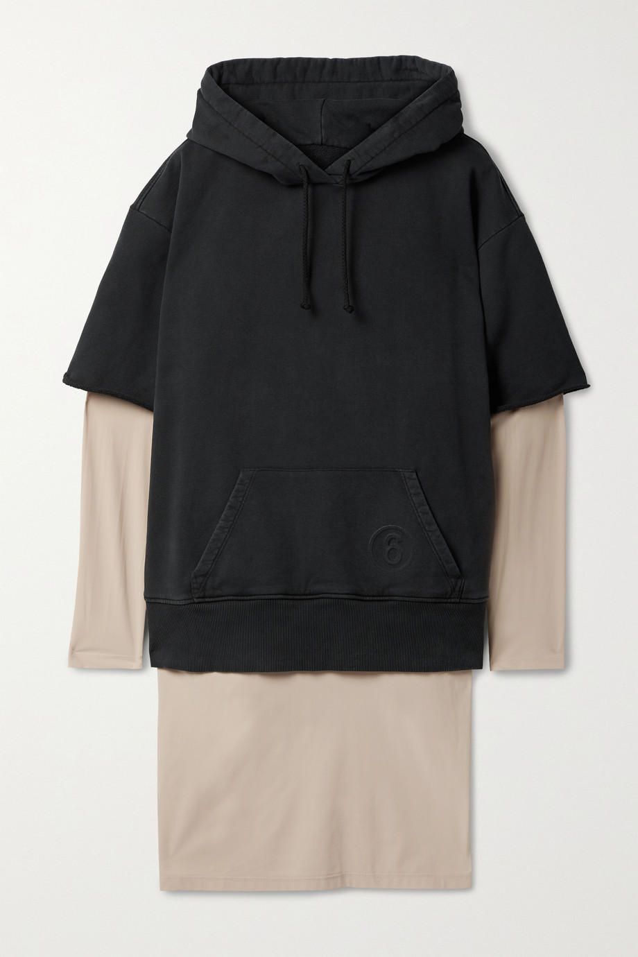 MM6 Maison Margiela Hooded layered cotton and stretch-jersey dress