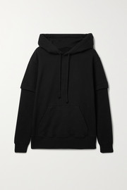 MM6 Maison Margiela Layered ribbed-knit and cotton-jersey hoodie