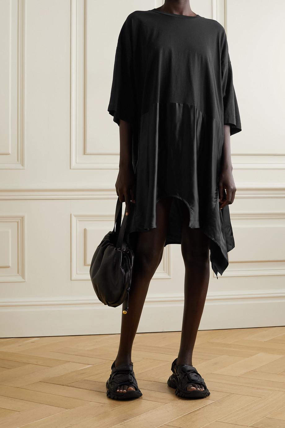 MM6 Maison Margiela Asymmetric cotton-jersey and satin mini dress