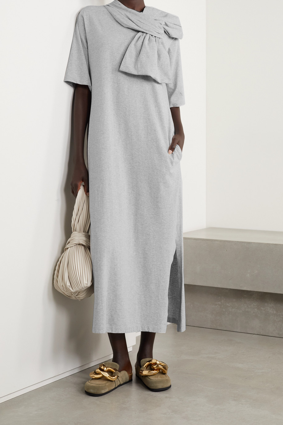 MM6 Maison Margiela Bow-embellished cotton-jersey midi dress