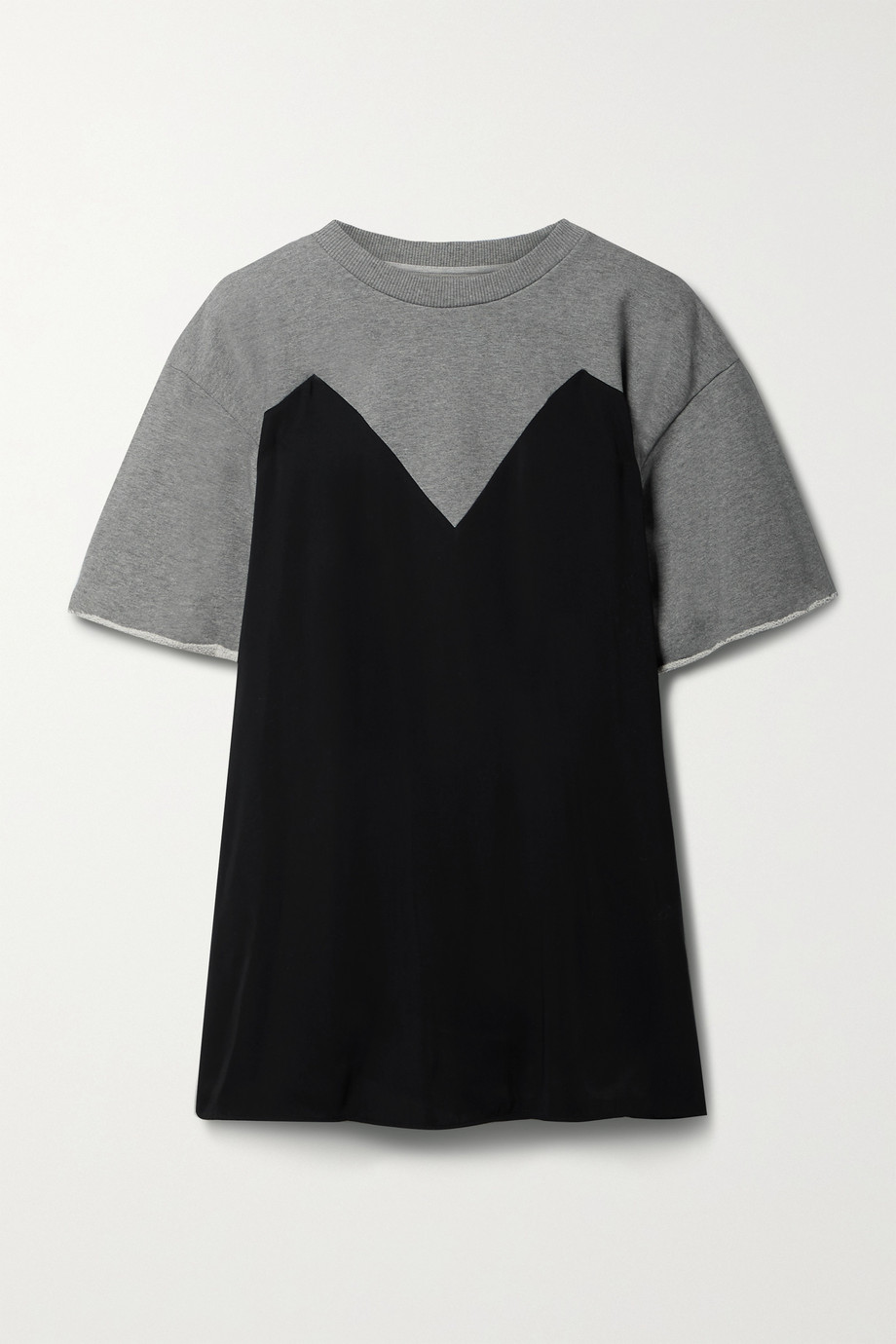 MM6 Maison Margiela Trompe-l'œil belted jersey and mélange French cotton-terry top
