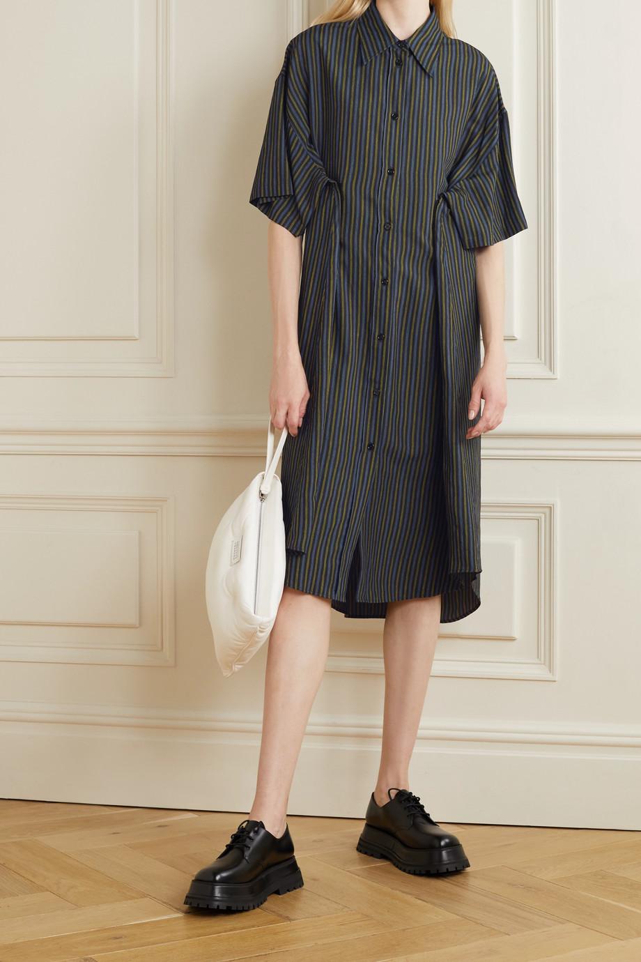 MM6 Maison Margiela Pinstriped twill midi shirt dress