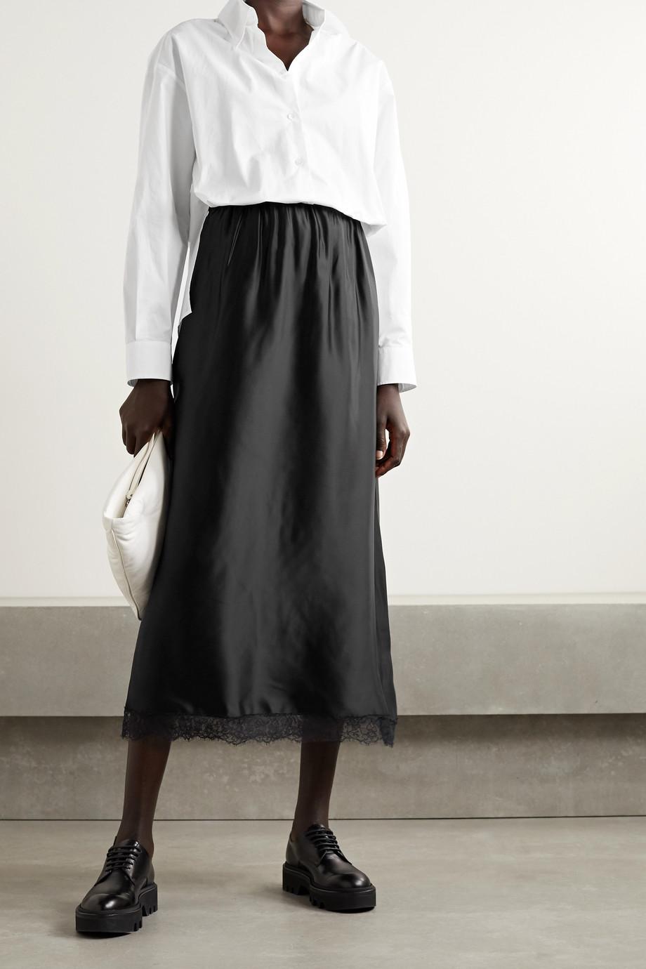 MM6 Maison Margiela Two-tone lace-trimmed satin and cotton-poplin midi shirt dress