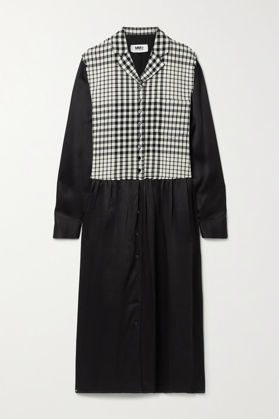 MM6 Maison Margiela Paneled checked wool-blend and satin midi dress