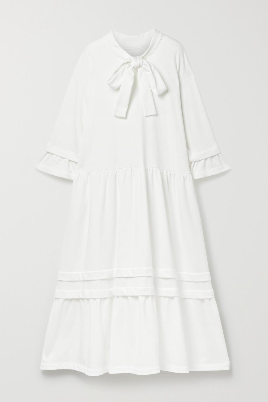 MM6 Maison Margiela Pussy-bow tiered cotton-blend jersey midi dress