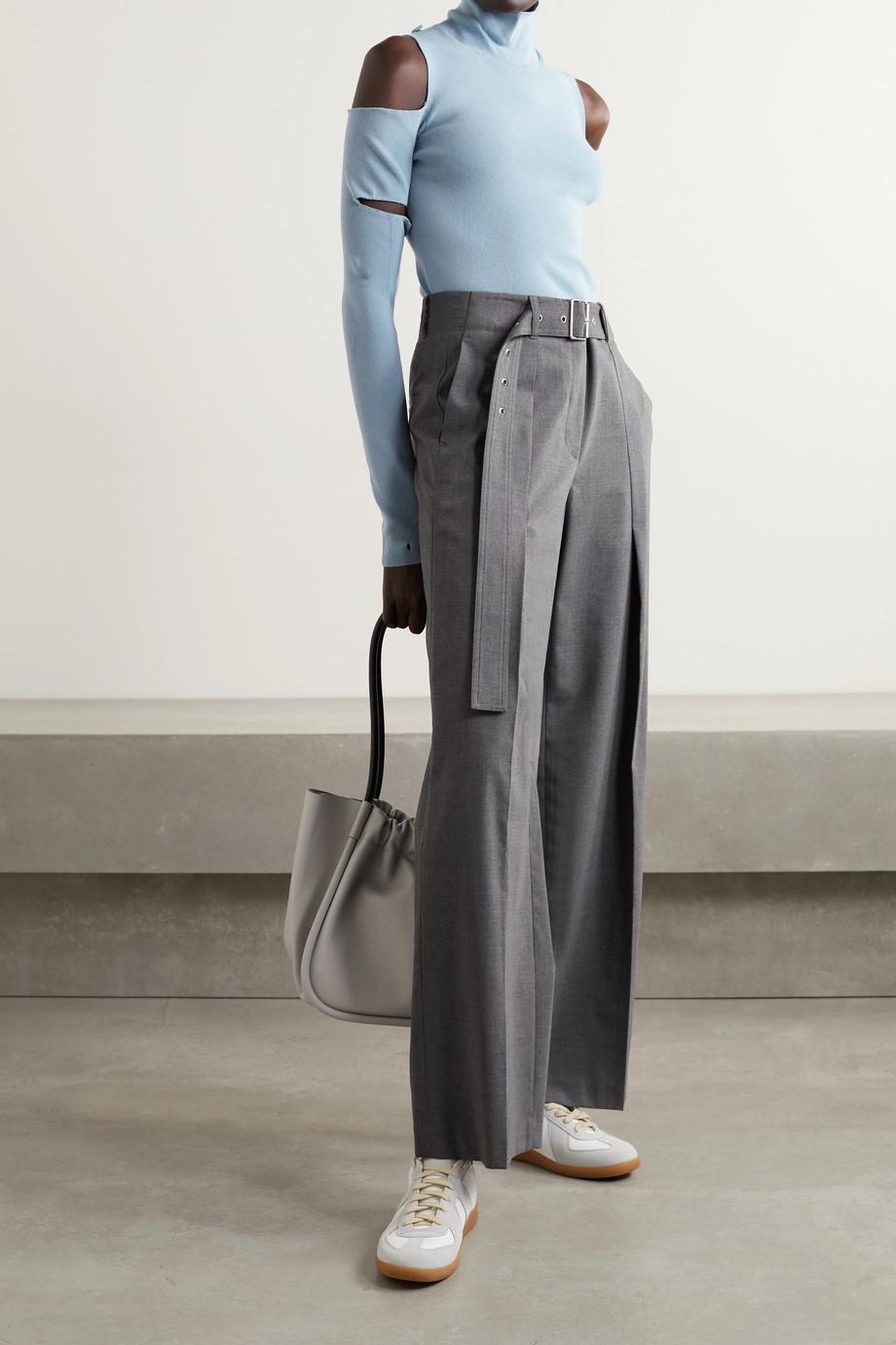 MM6 Maison Margiela Cold-shoulder convertible stretch-knit turtleneck sweater