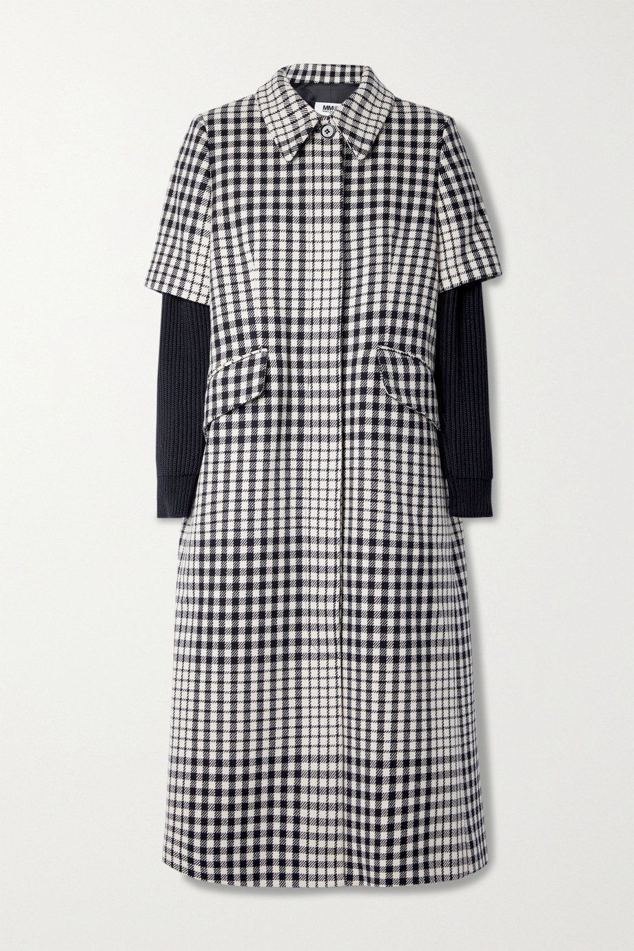 MM6 Maison Margiela Layered ribbed-knit and checked wool-blend coat