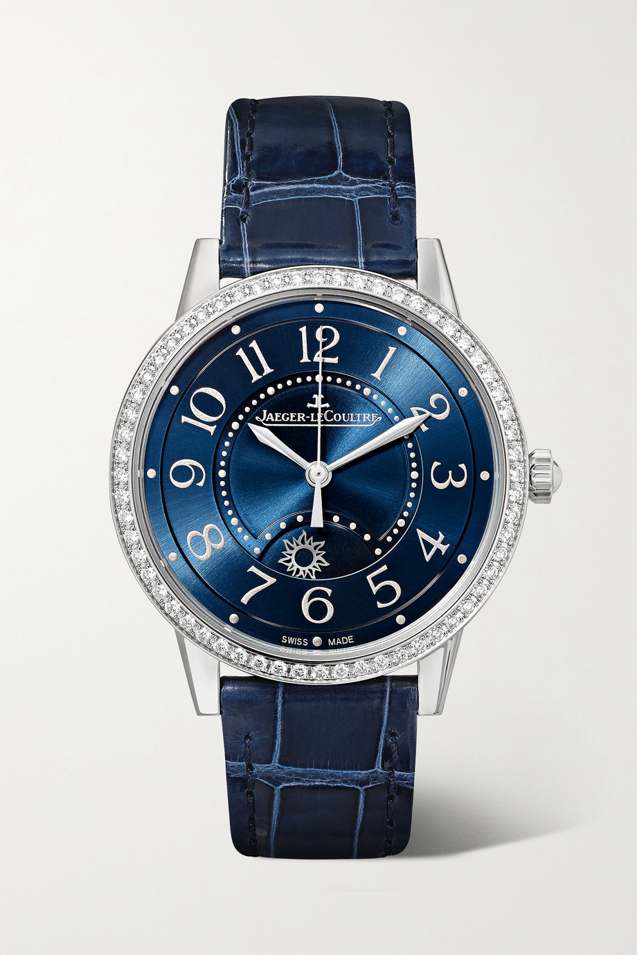 Jaeger-LeCoultre Montre en acier inoxydable et diamants à bracelet en alligator Rendez-Vous Night & Day Medium Automatic 34 mm