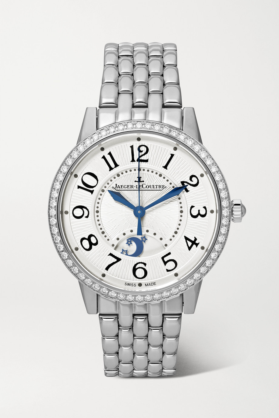 Jaeger-LeCoultre Montre en acier inoxydable et diamants Rendez-Vous Night & Day Medium 34 mm