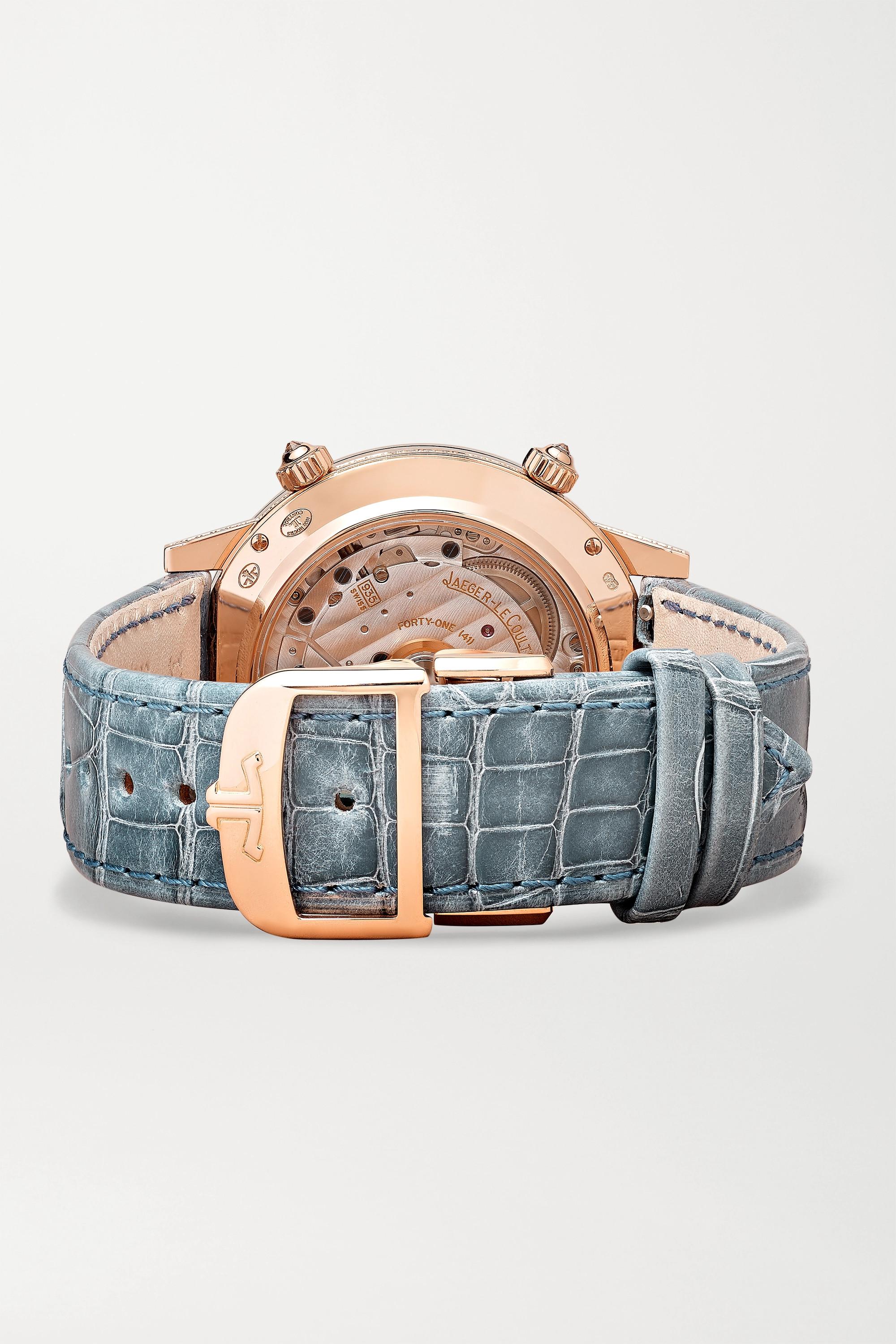 Jaeger-LeCoultre Rendez-Vous Moon Serenity Automatic 36 mm Uhr aus 18 Karat Roségold mit Diamanten und Alligatorlederarmband