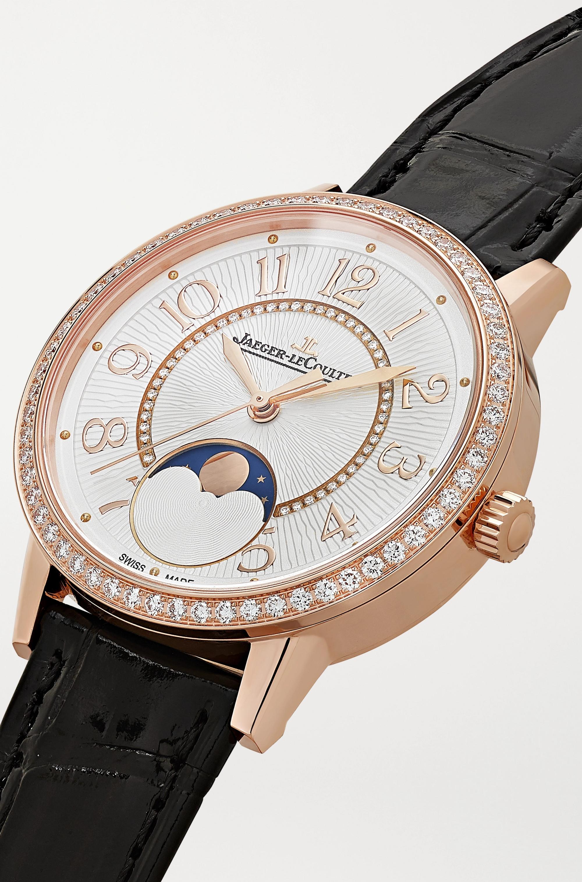 Jaeger-LeCoultre Montre en or rose et diamants à bracelet en alligator Rendez-Vous Moon 34 mm
