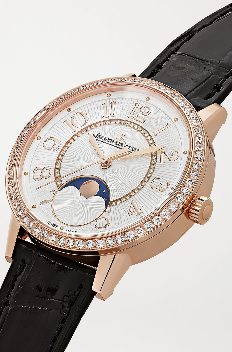 Jaeger-LeCoultre Rendez-Vous Moon Automatic Medium 34 mm Uhr aus Roségold mit Diamanten und Alligatorlederarmband