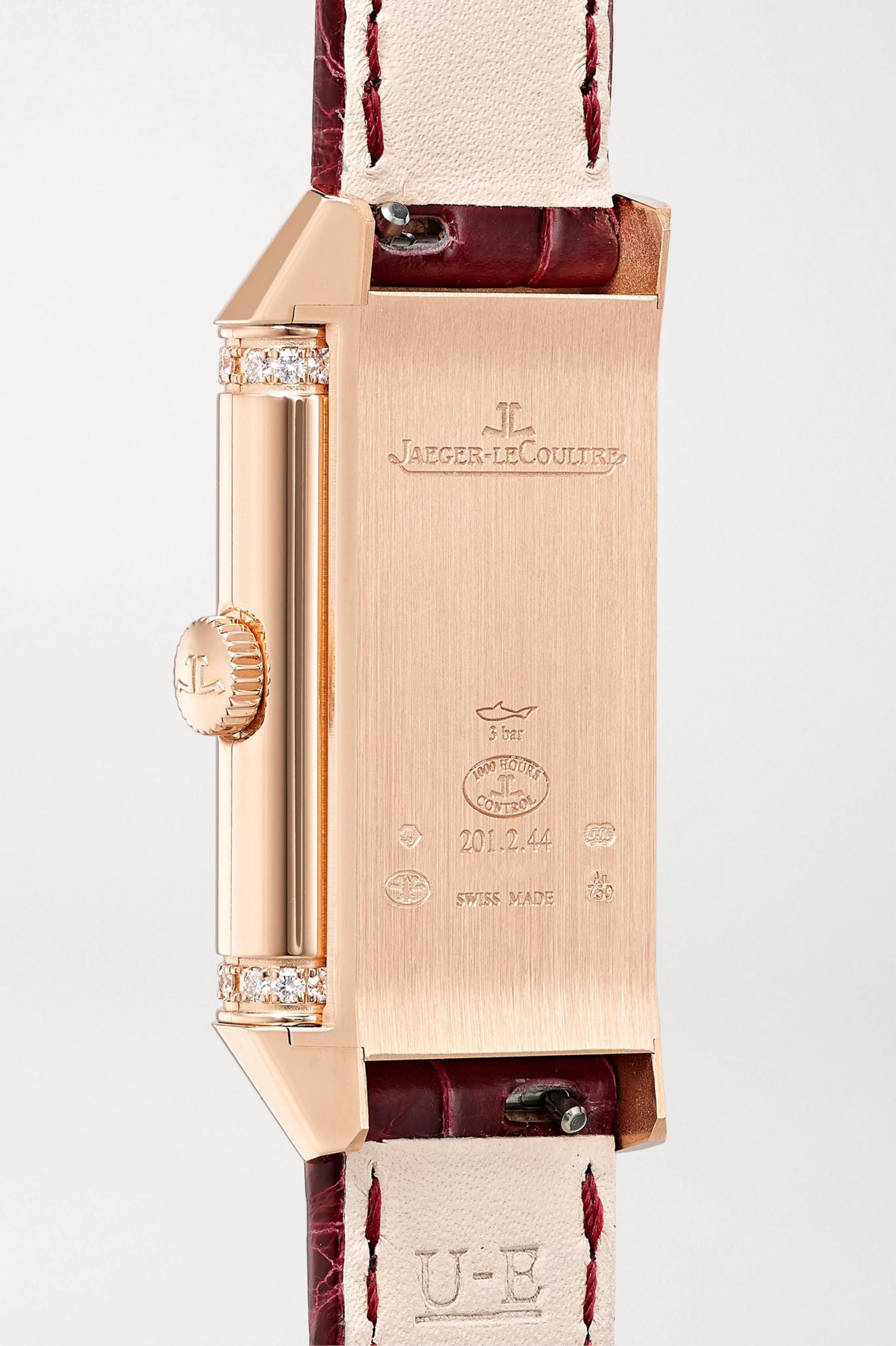 Jaeger-LeCoultre Reverso One Duetto 20 mm Uhr aus Roségold mit Diamanten und Alligatorlederarmband