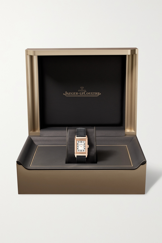 Jaeger-LeCoultre Montre en or rose à bracelet en alligator Reverso Classic Duetto Small 21 mm