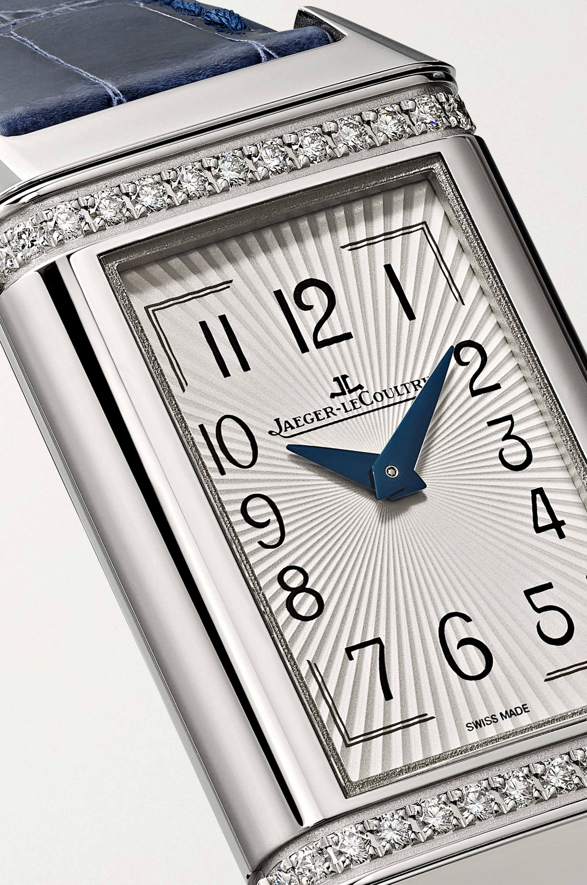 Jaeger-LeCoultre Reverso One Duetto 20 毫米钻石精钢腕表(短吻鳄鱼皮表带)