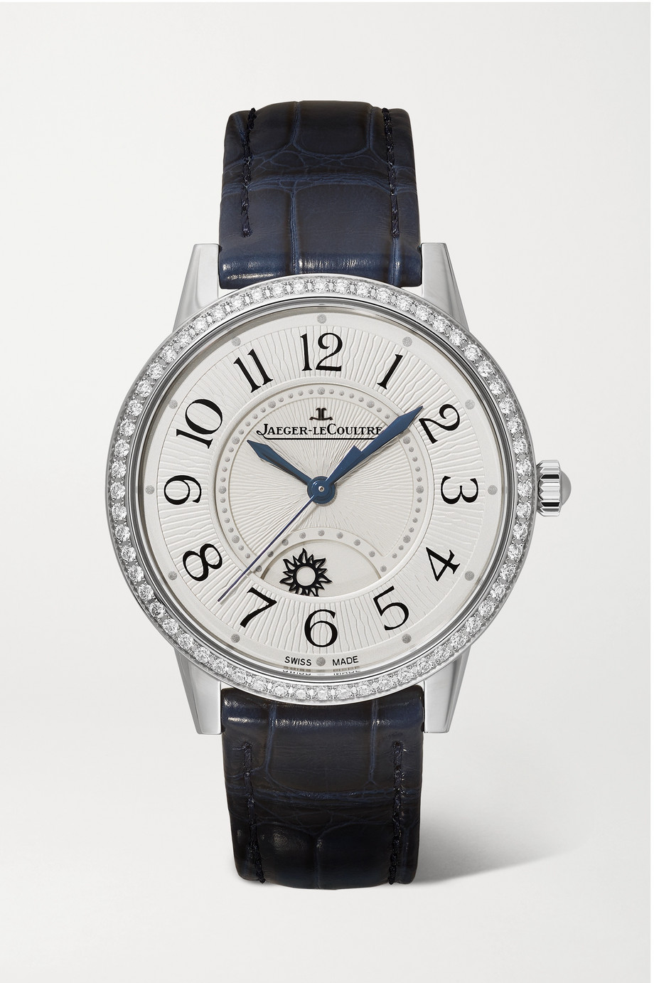 Jaeger-LeCoultre Montre en acier inoxydable et diamants à bracelet en alligator Rendez-Vous Night & Day Medium 34 mm