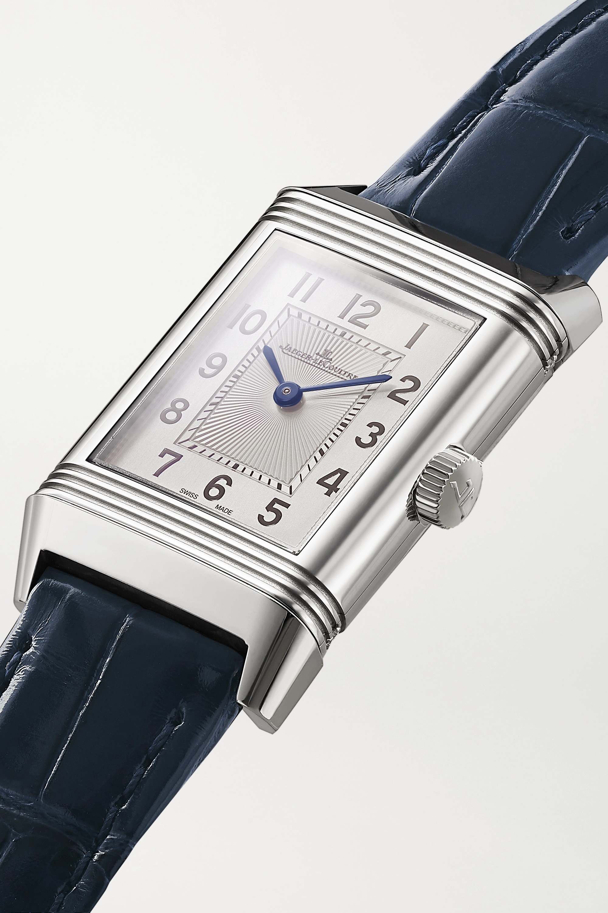 Jaeger-LeCoultre Reverso Classic Duetto 21 毫米精钢钻石腕表(短吻鳄鱼皮表带)