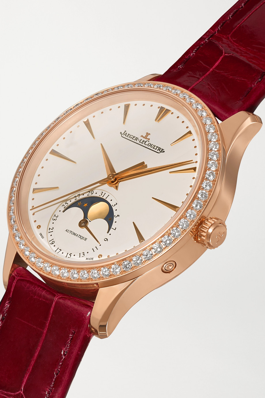 Jaeger-LeCoultre Master Ultra Thin Automatic Moon-Phase 34mm rose gold, alligator and diamond watch