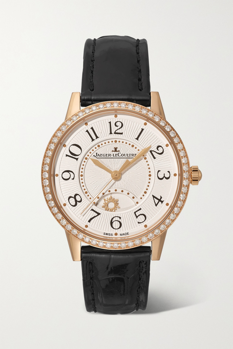 Jaeger-LeCoultre Rendez-Vous Night & Day Automatic 34mm medium rose gold, alligator and diamond watch