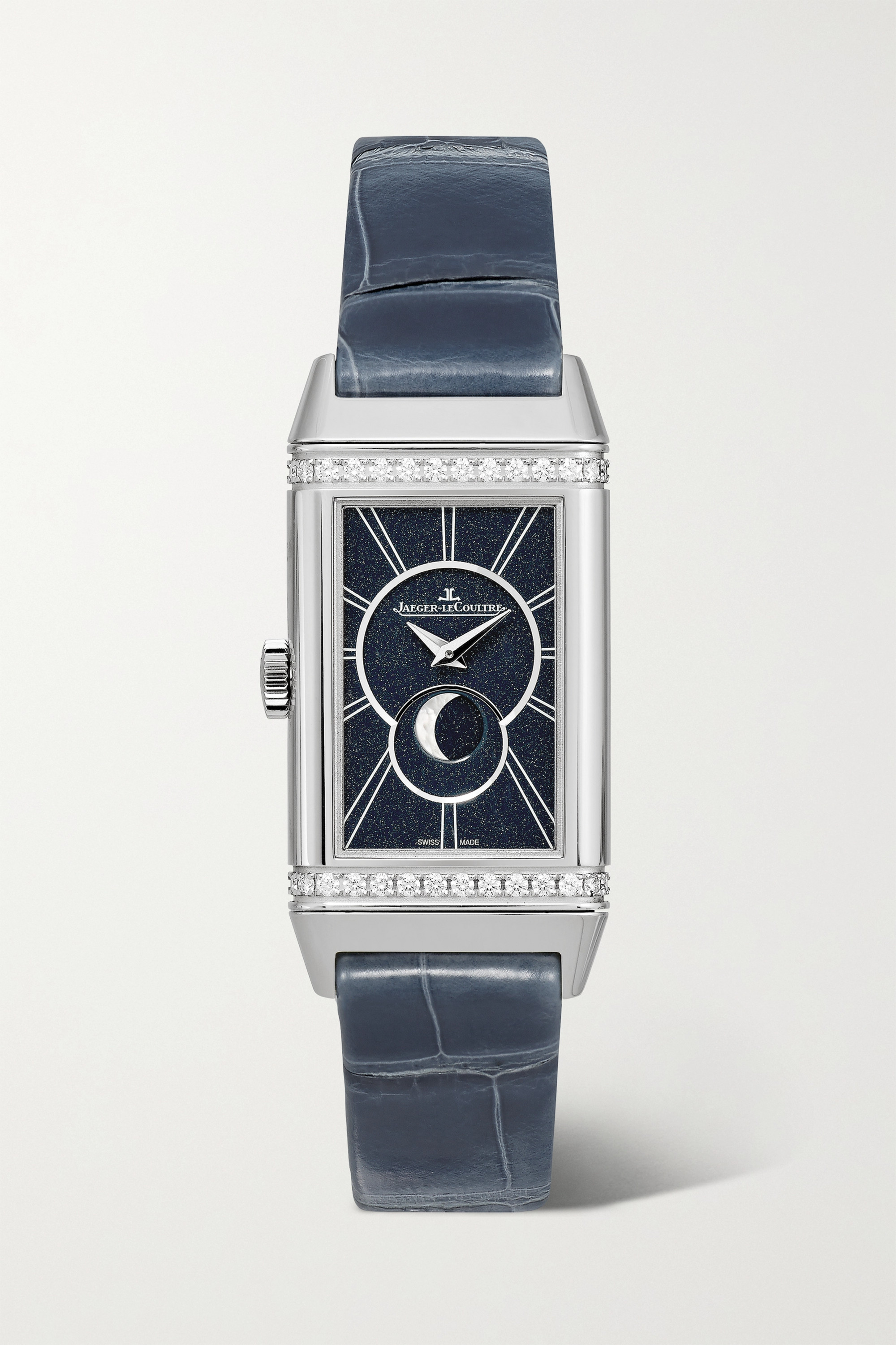 Jaeger-LeCoultre Reverso One Duetto Moon Hand-Wound Moon-Phase 20mm stainless steel, alligator and diamond watch