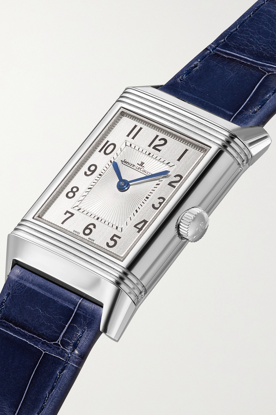 Jaeger-LeCoultre Montre à remontage manuel en acier inoxydable et diamants à bracelet en alligator Reverso Classic Medium Duetto 24 mm