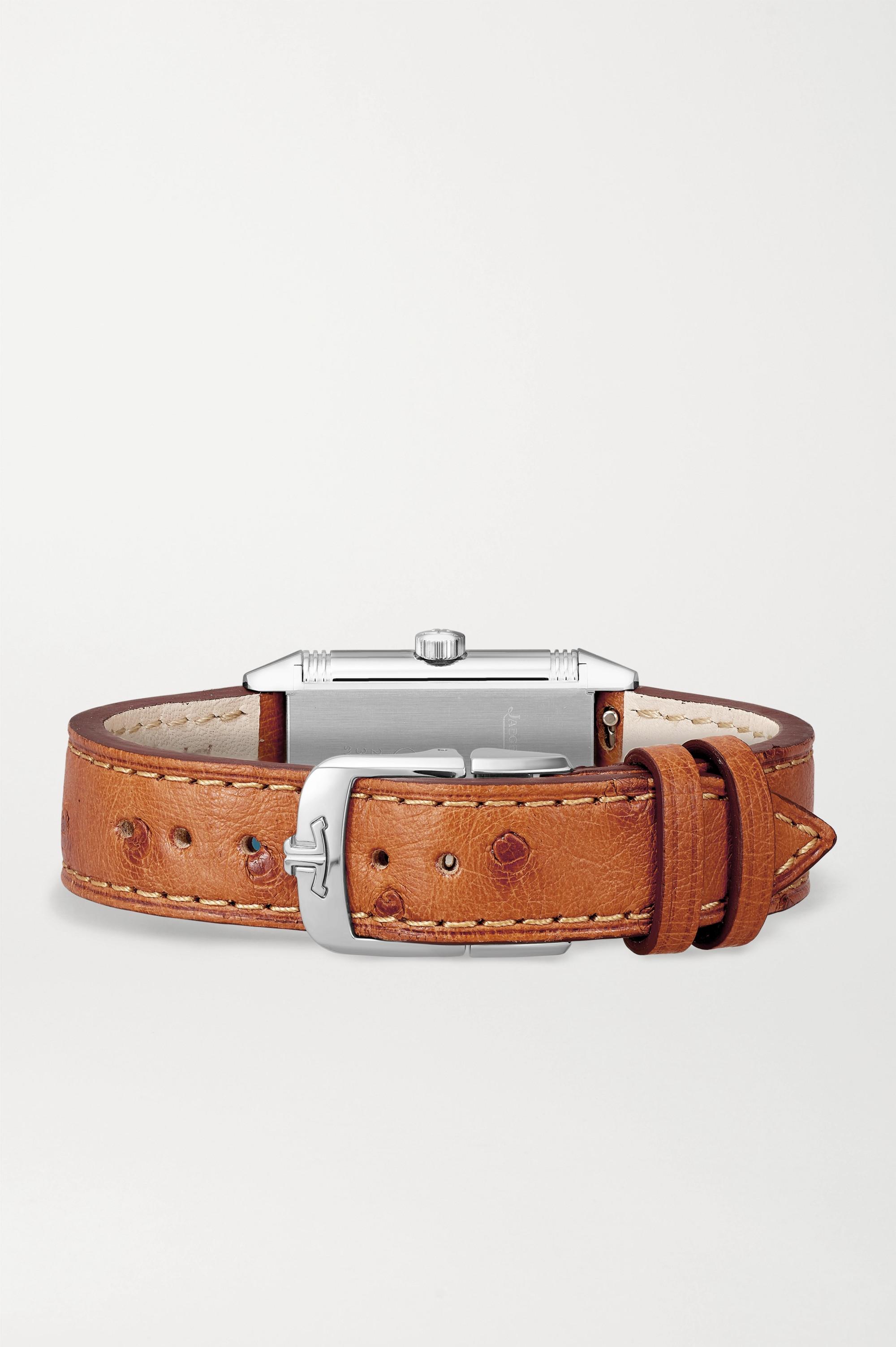 Jaeger-LeCoultre Montre à remontage manuel en acier inoxydable à bracelet en cuir d'autruche Reverso Classic Small 21 mm