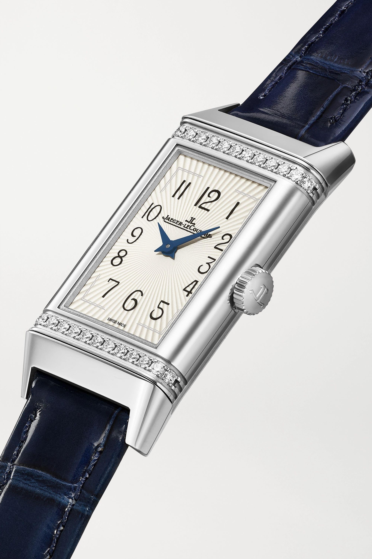 Jaeger-LeCoultre Reverso One 20 mm mittelgroße Uhr aus Edelstahl mit Diamanten und Alligatorlederarmband