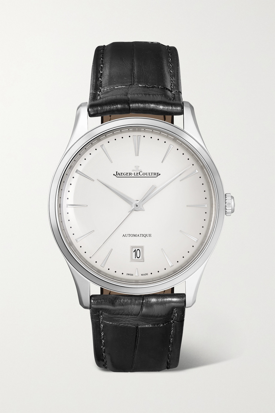 Jaeger-LeCoultre Master Ultra Thin Date Automatic 39 mm Uhr aus Edelstahl mit Alligatorlederarmband