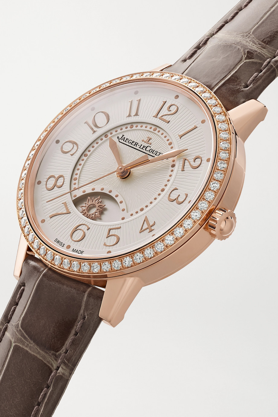 Jaeger-LeCoultre Rendez-Vous Night & Day Automatic Medium 34 mm Uhr aus Roségold mit Diamanten und Alligatorlederarmband