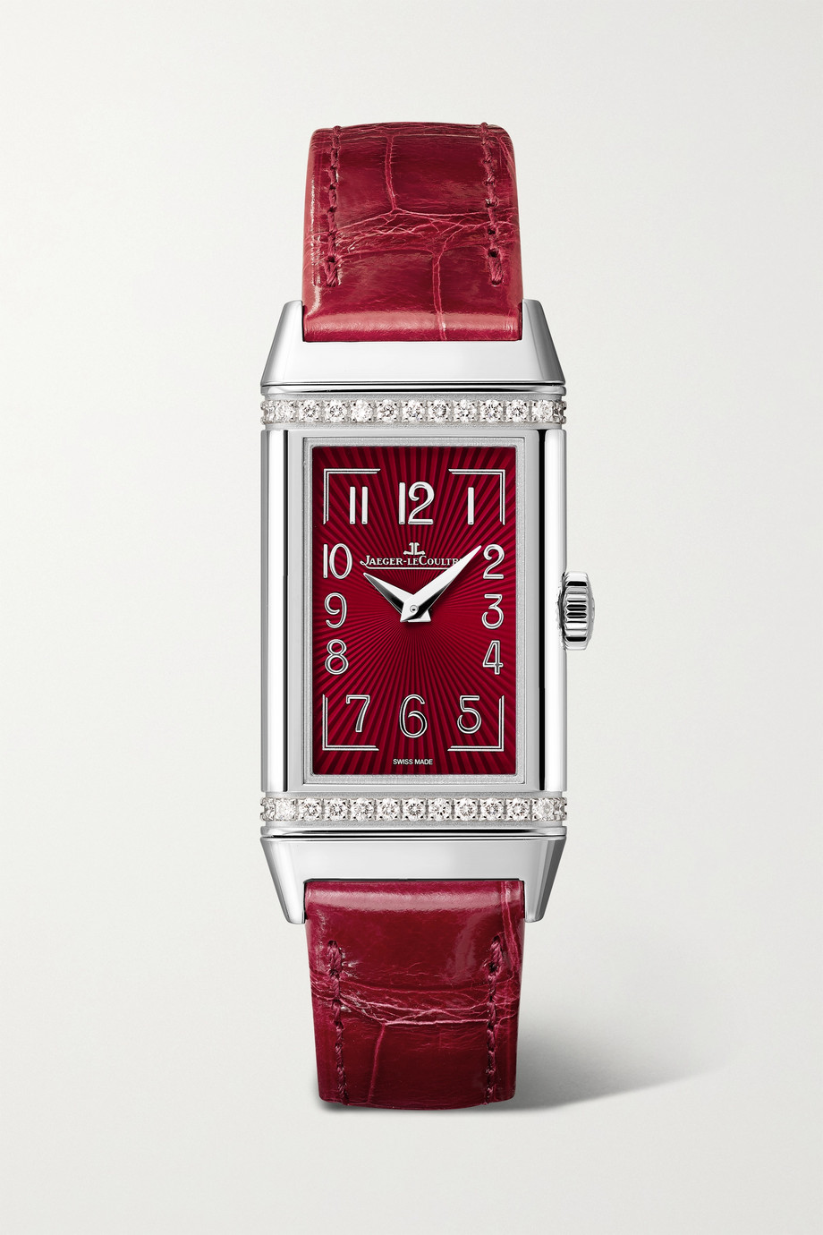 Jaeger-LeCoultre Reverso One 20 毫米精钢钻石腕表(短吻鳄鱼皮表带)