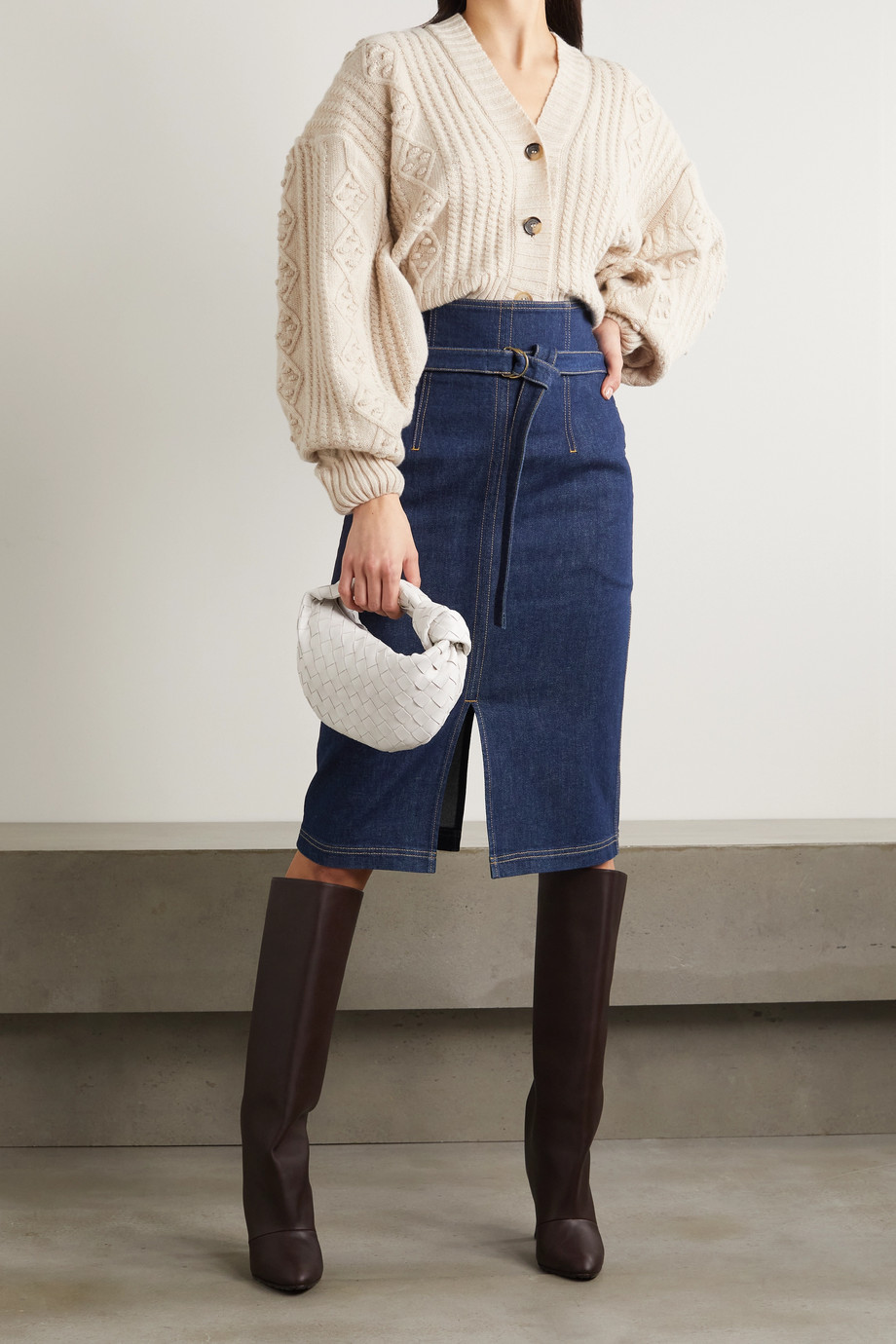 Philosophy di Lorenzo Serafini Belted denim skirt