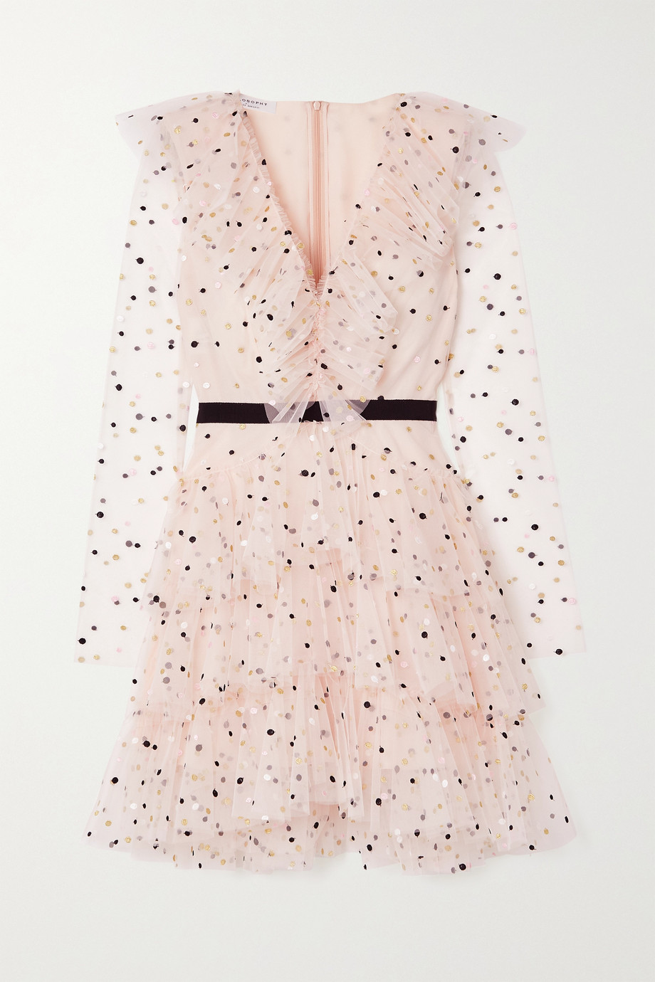 Philosophy di Lorenzo Serafini Mini-robe en tulle à fil coupé et à volants