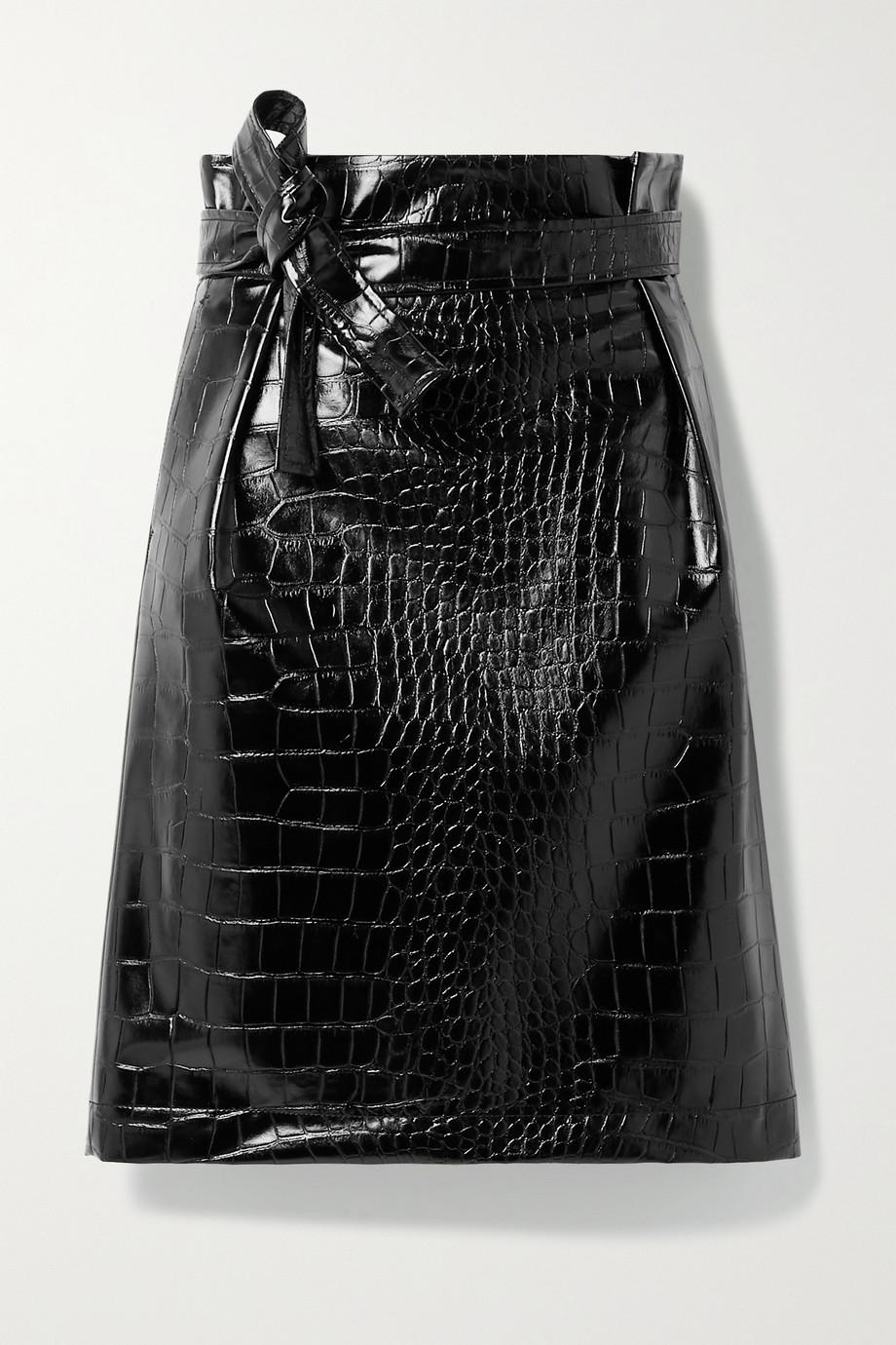 Philosophy di Lorenzo Serafini Belted croc-effect vegan patent-leather skirt