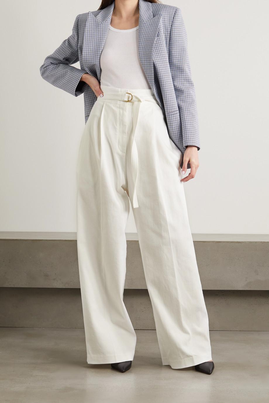 Philosophy di Lorenzo Serafini Pantalon large en serge de coton stretch à plis et à ceinture