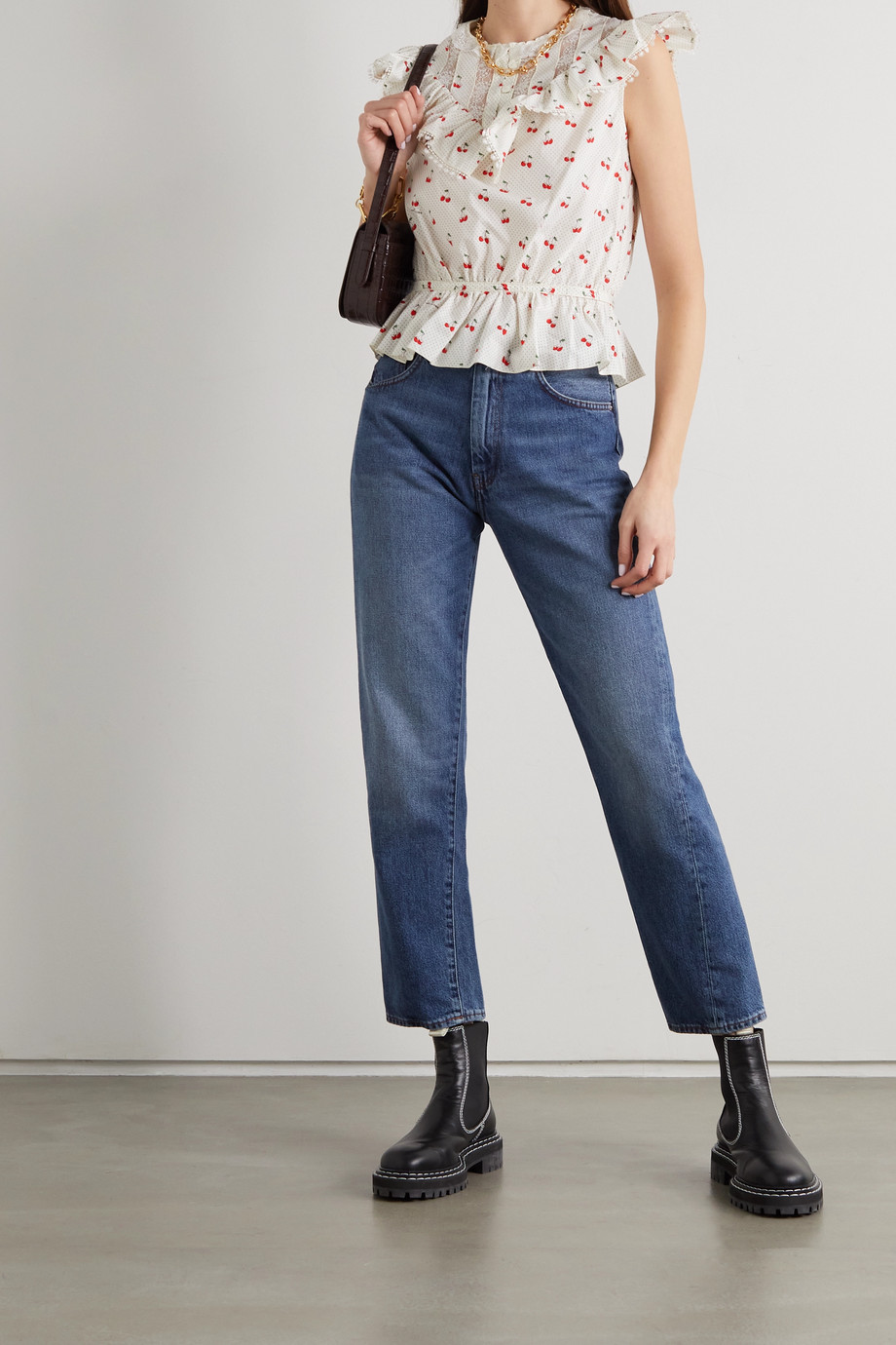 THE Marc Jacobs The Victorian lace-trimmed printed cotton-poplin top