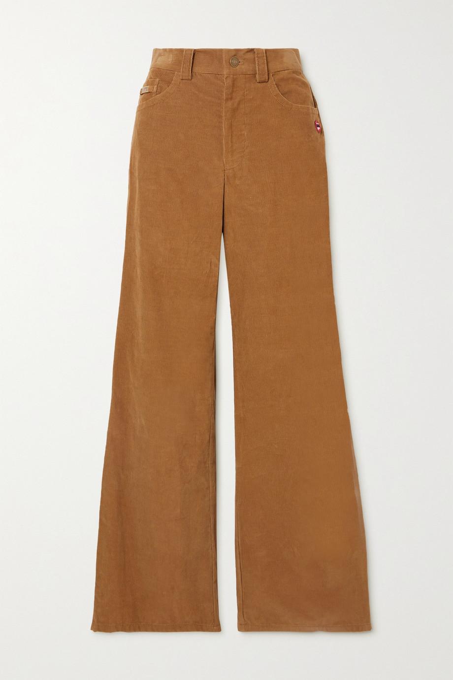 THE Marc Jacobs The Flared Jean appliquéd cotton-corduroy pants